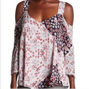 Rebecca Minkoff Floral Print Cold Shoulder Blouse